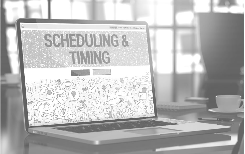 Scheduling and timing screen on computer