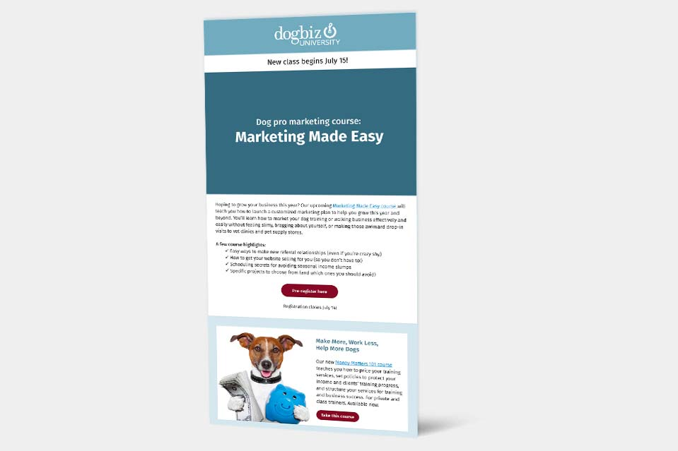 Picture of Markeitng Made Easy poster with cute dog holding money and piggy bank