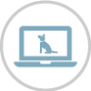 Icon image of dog on computer screen